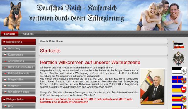 """Homepage der """"Exilregierung"""" / friedensvertrag.info"""