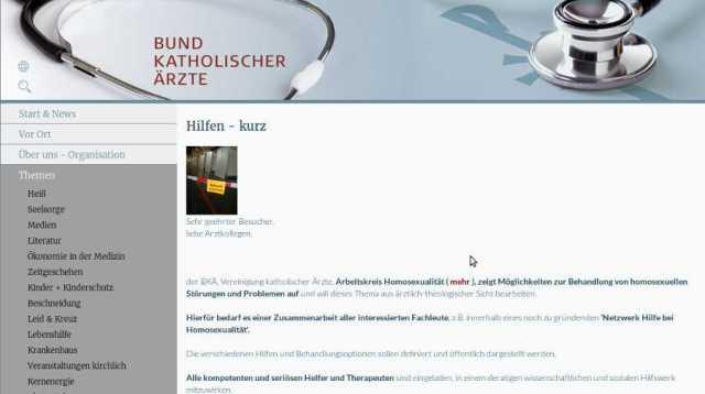 HP des Bundes katholischer Ärzte. Screenshot: bb